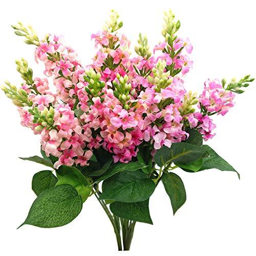 Artificial Fake Flowers Silk Plastic Plant Arrangement for Home Indoor Outdoor Garden Wedding Table Vase Decorations Faux Snapdragon Flower,3 Bouquets (Pink)