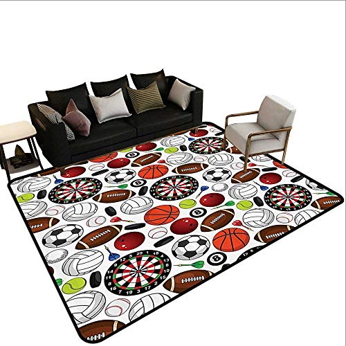 Rectangular Rug Sports Decor Collection Pattern with Billiards Balls Hockey Pucks Darts Arrows and Target Boards Image Extra Large Rug4'7 x6'6 Orange White Burgundy ()