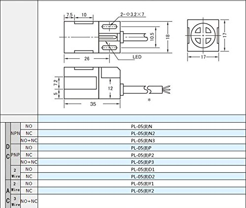 Woljay Inductive Proximity Sensor Switch DC 10-30V PL-05P2 PNP NC 3-wire