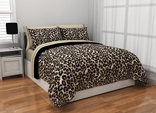 Cheetah Print Comforter - Rock Your Room Animal Print Reversible Bed in a Bag Comforter Set, Twin, Cheetah