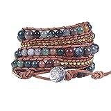Leather Wrap Bracelet Handwoven Jasper Bead Wrap Bracelet Tree of Life Button Healing Bracelet Charm