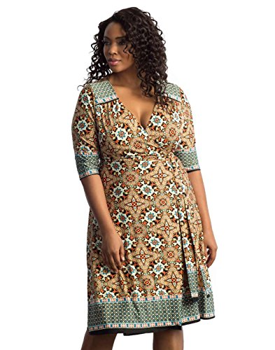 Boho-Chic Vacation & Fall Looks - Standard & Plus Size Styless - Kiyonna Women's Plus Size Beguiling Border Wrap Dress Turquoise Mix Print