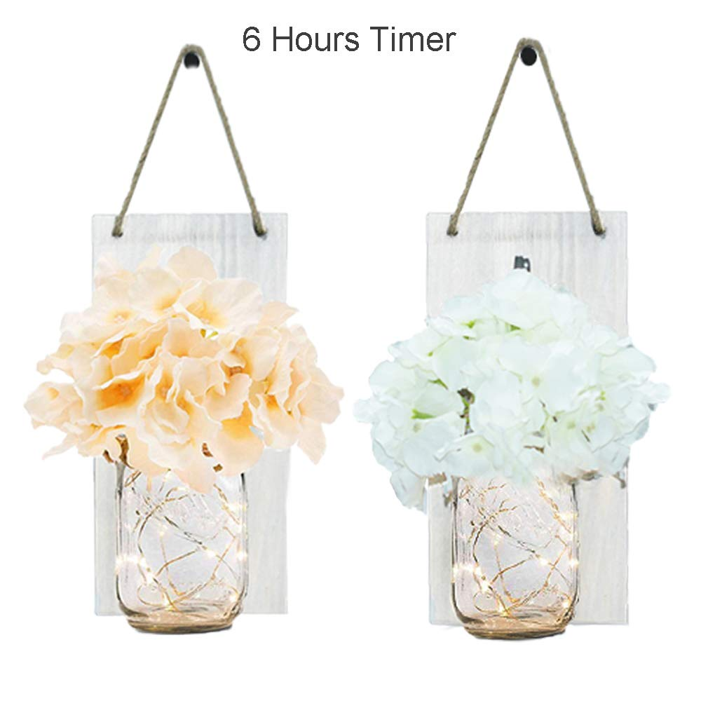 Rustic White Mason Jar Sconce for Wall Decor, Decem 30 LED Chic Hanging House Decor Mason Jars with LED Strip Lights, Silk Hydrangea, Iron Hooks for Home & Kitchen Decorations(Set of 2) (Rustic White) by Decem