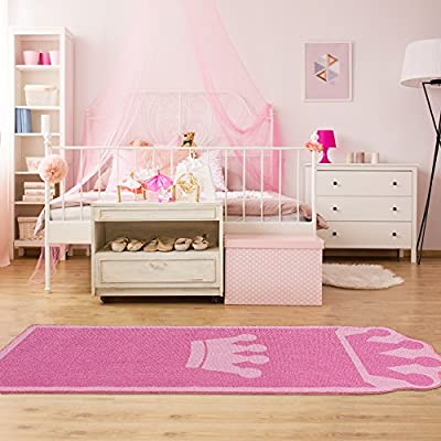 Pink Kids Rug for Bedroom Boys Girls Bedside Carpet Kids Runner Rugs Crown Style Children Carpet Ideal Gift for Kids' Room Décor (26 x 71 inches): Home & Kitchen
