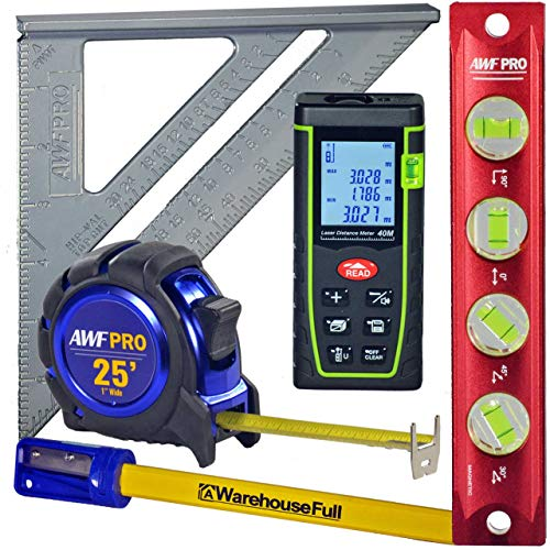 AWF Pro Measuring Kit: 130 foot Laser Distance Measure, 4 Vial Aluminum Torpedo Level, Heavy Duty Tape Measure, Cast Aluminum Builders Square, Pencils, Sharpener Aluminum Heavy Duty Level