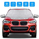 Gintenco Car Windshield Snow Cover, Frost Ice Windscreen Covers with Magnetic Edges, 4 Layers Thickness Snow Protector Covers with Side Mirrors Cover Easy to Use for Car SUV CRV Trucks