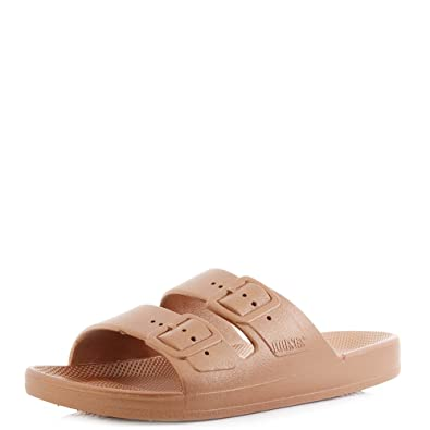43cd5c205d71 Freedom Moses Womens Copper Slide Slider Sandals Size 6 7  Amazon.co ...