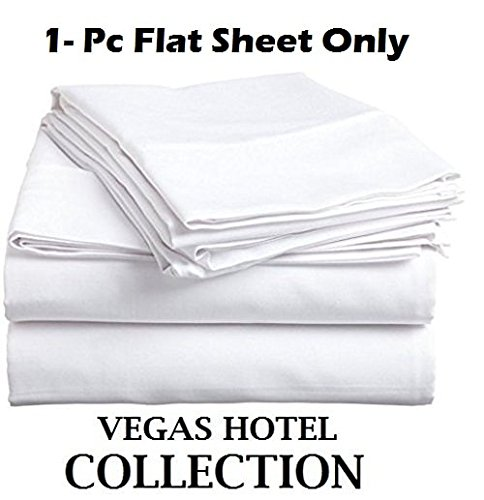VEGAS HOTEL COLLECTION - Top Selling ( 1-PC ) Flat Sheet Only - Fabulous White Color 100% Egyptian Cotton 600 Thread Count { Solid : Pattern } Flat Sheet Perfect Fit Twin XL Size