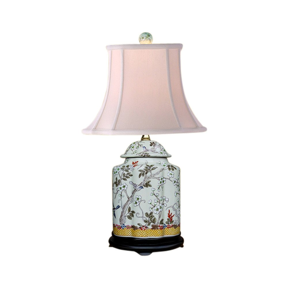 Chinese Porcelain Scallop Ginger Jar Table Lamp Bird Floral Motif 22'' LPHMN0810A