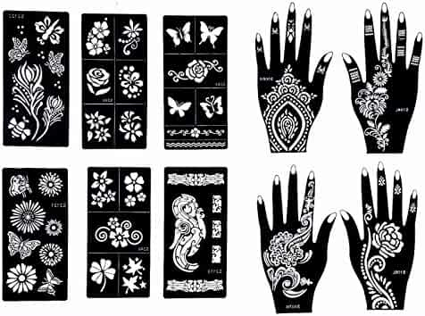 Stencils for Henna Tattoos (10 Sheets) Self-Adhesive Beautiful Body Art Temporary Tattoo Templates, Henna, Flower, Butterfly Designs