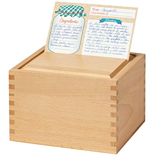 Recipe Box Card Set with 8 4x6 Recipe Cards, Beechwood and Card Holder, Cards Made with Thick Card Stock. Perfect Recipe Organizer. (Beechwood) by RAKYTO (Image #2)