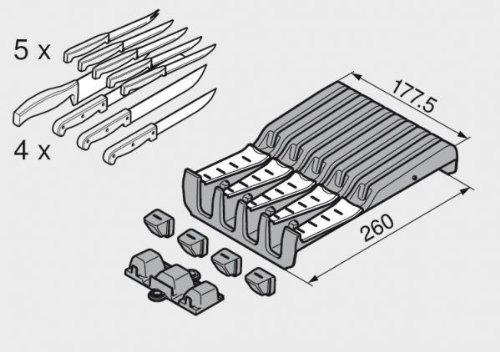 5/mm KS staubgrau//acero inoxidable Blum Orga de Line para cuchillos ancho 177 profundidad 260/mm 6484600 1/pieza