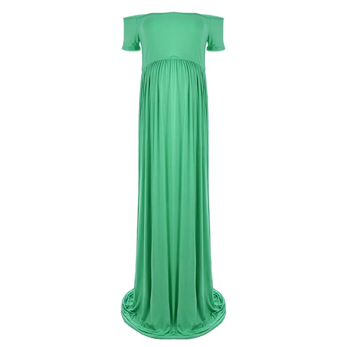 Women S Maternity Off Shoulder Ruched Casual Long Dress Pregnancy