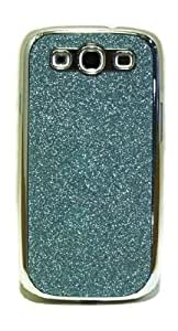 ShopNY Light Blue Bling Glitter Coated Chrome Snap On Case Cover For Samsung Galaxy S3 i9300 III