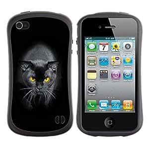 LASTONE PHONE CASE / Suave Silicona Caso Carcasa de Caucho Funda para Apple Iphone 4 / 4S / Black Siamese Cat Yellow Eyes Panther