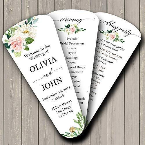 (Wedding Program Petal Fans Assembled Set of 50 - Elegant Blush Floral Collection)