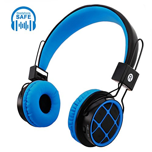 Kids Wireless Bluetooth Headphones Foldable Over Ear Stereo Headset for Children Boys Girls with Volume Control Built-in Mic 3.5mm Audio Jack Cable for PC Tablet Cellphone(Blue)