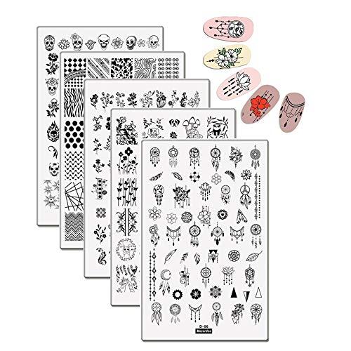 (5Pcs Cute Panda Animal Nail Art Stamping Plates Geometric Beading Rose Flower Heart Skull Stamp Template Image Plates 9.514.5cm)