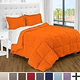 Ultra-Soft Premium 1800 Series Goose Down Alternative Comforter Set - Hypoallergenic - All Season - Plush Fiberfill, Twin Extra Long (Twin XL, Orange)