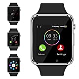 Bluetooth Smart Watch - Aeifond Touch Screen Sport Smart Wrist Watch Smartwatch Phone Fitness Tracker With Camera Pedometer SIM TF Card Slot for iPhone IOS Samsung Android for Men Women Kids (Silver1)