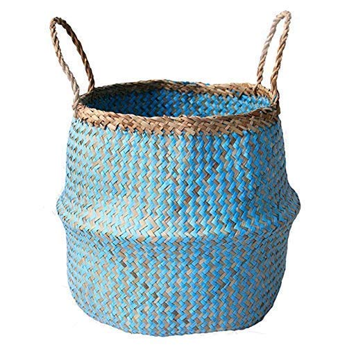 COCOBOO - Blue Paper Seagrass Belly Basket, Storage, Laundry Basket, Handmade, Lightweight, Foldable (14 x 13 inches) Large