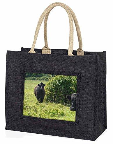 Advanta–Große Einkaufstasche Cute Bull Große Einkaufstasche Weihnachtsgeschenk Idee, Jute, schwarz, 42x 34,5x 2cm