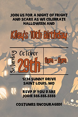 Customized - Halloween Invitation - Birthday, Halloween Party, October -