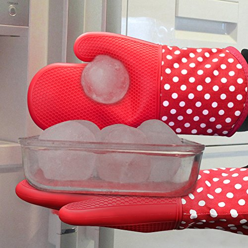 KEDSUM Heat Resistant Silicone Oven Mitts, 1 Pair of Extra Long Potholder Gloves with Bonus 1 Pair of Mini Cooking Pinch Grips, Non-Slip Cotton Lining Kitchen Glove for Baking, Barbeque, Red by KEDSUM (Image #7)