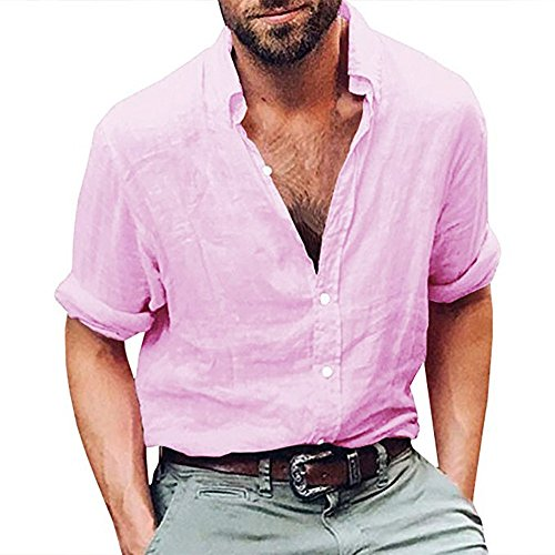 Shirt Standard-Fit Long-Sleeve Solid Henley Beach Yoga Loose Fit Tops Blouse Mens (XXL,Pink)