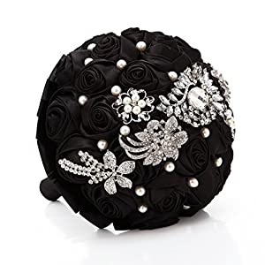 FAYBOX Hand Made Silk Rose Rhinestone Brooch Wedding Bouquets Customization Pearls Bride Holding Flowers 50