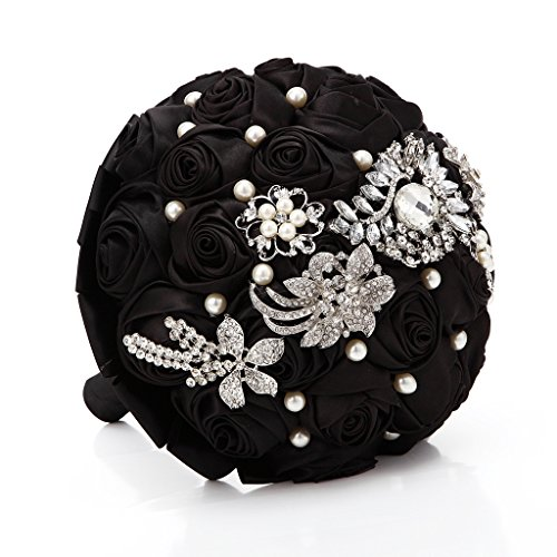 Hand Made Silk Rose Rhinestone Brooch Wedding Bouquets Customization Pearls Bride Holding (Silk Rhinestone)