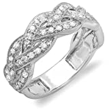 0.58 Carat (ctw) 14k White Gold Round Diamond Ladies Anniversary Wedding Stackable Swirl Ring 1/2 CT