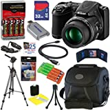 Nikon COOLPIX L820 16 MP Digital Camera with 30x Zoom (Black) + 4 AA Batteries with AC/DC Rapid Charger + 11pc Bundle 32GB Deluxe Accessory Kit, Best Gadgets