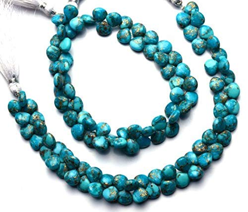 1 Strand Natural Mojave Blue Copper Turquoise 8MM Approx. Smooth Heart Shape Briolette Beads 7.5 Inch by ()