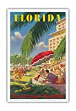 Florida - Go By Train - Pennsylvania Railroad - Vintage World Travel Poster c.1950s - Master Art Print - 12in x 18in
