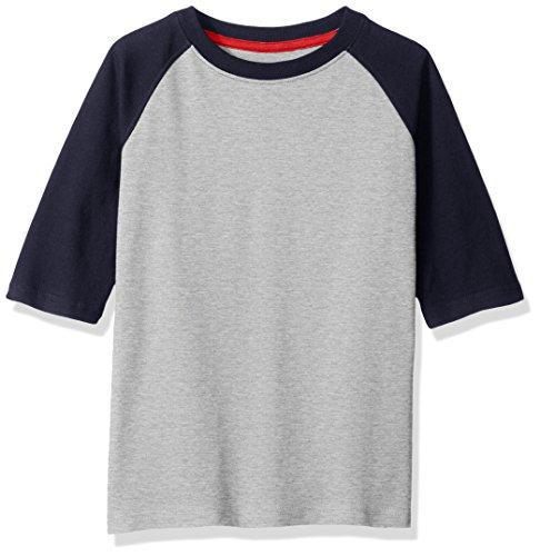 (Scout + Ro Big Boys' Three Quarter-Sleeve Baseball T-Shirt, Grey Heather/Navy, 8)