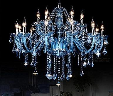 DZW Europäische Beleuchtung Blaue Kerze Kristall Kronleuchter ...