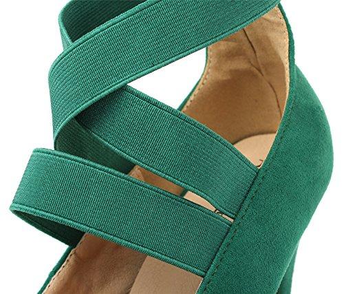 AgeeMi Shoes Damen Rund Schließen Zehe Wildleder Stiletto High Heel Pumps Gras Grün