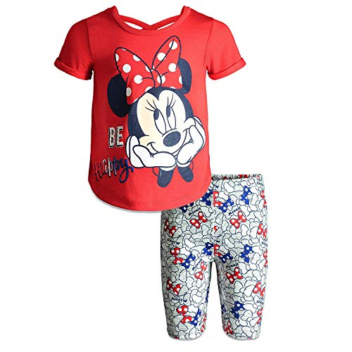 Disney (89E6748MI) Minnie Mouse Little Girls' T-Shirt & Bike Shorts Set in Bright Red, - Red T-shirt Blue