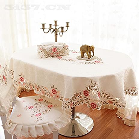 Attractive Hoomy Rustic Embroidered Tablecloth Oval Floral Table Cloth For Dinning  Table Modern Cutwork Table Covers For