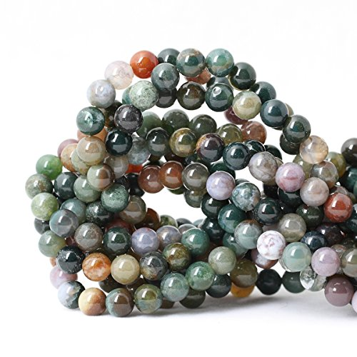 (Qiwan 45PCS 8mm Indian Agate Gemstone Loose Beads Natural Round Crystal Energy Stone Healing Power for Jewelry Making 1 Strand)