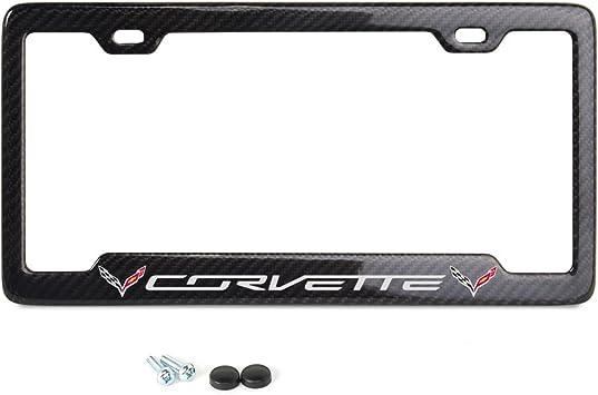 C7 Corvette Red Script w//Flags Notched License Plate Frame 100/% Real Carbon Fiber