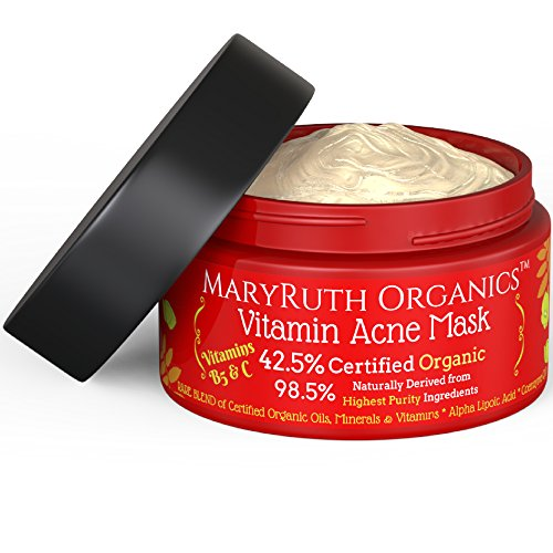VITAMIN CLEAR SKIN ACNE MASK by MaryRuth s-Organic Ingredients 42.5 Vitamins helps acne-prone, sensitive,pimple-prone blemished skin feel look nourished 4oz – For Men Women