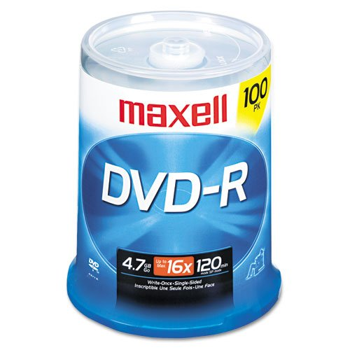 Maxell® - DVD-R Discs, 4.7GB, 16x, Spindle, Gold, 100/Pack - Sold As 1 Pack - Share and preserve files and memorable moments. by Maxell