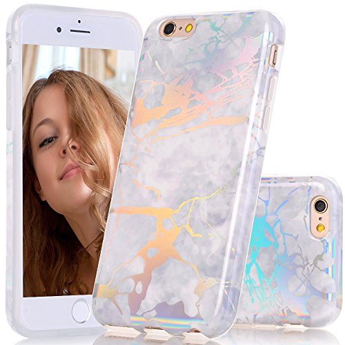 iPhone 6 6s Case, BAISRKE Laser Style Marble Design Cover, Colorful Lines Bling Bling Sparkling Shiny Flexible Glossy Soft Rubber TPU Case for iPhone 6 6s 4.7