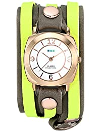 La Mer Collections Women's LMDYLY1000 Neon Odyssey Layer Watch with Cement Wash and Neon Cuff