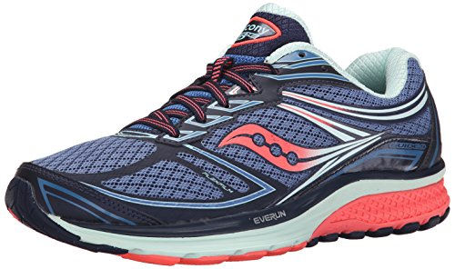 Saucony Women's Guide 9 Running Shoe, Cobalt/Coral/Blue, 8 M US