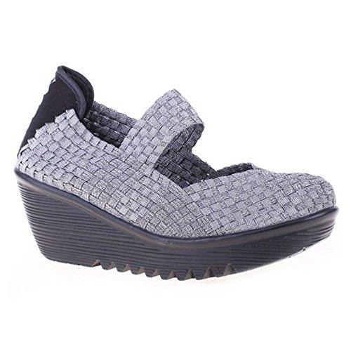 Bernie Mev Womens Lulia Casual Wedge Shoe Pewter Size 39 EU (8 M US Women)