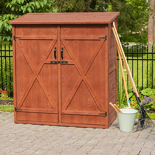 Leisure Season MSS6602 Medium Storage Shed - Brown - Outdoor Garden Tool Organizer Box - Lockable Waterproof Cedar Cabinet with Shelves and Wooden Doors - Stain Coating with Tongue and Groove Design (Seasons Garden Tool)