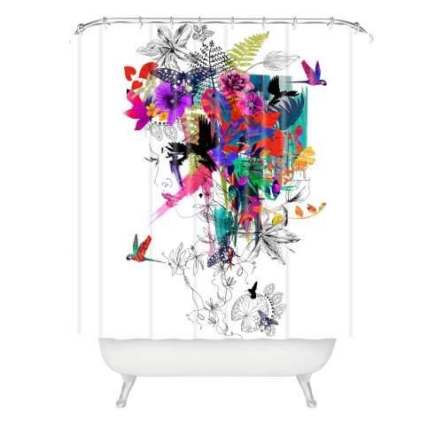 DENY Designs Holly Sharpe Tropical Girl Shower Curtain, 6...